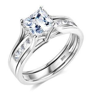 14k White 1-CT Princess-Cut CZ Solitaire Ring